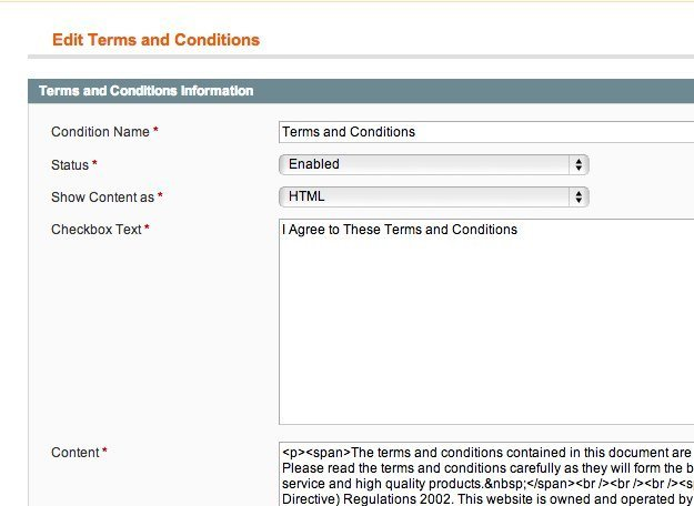Magento 1.8 Terms and Conditions Checkout