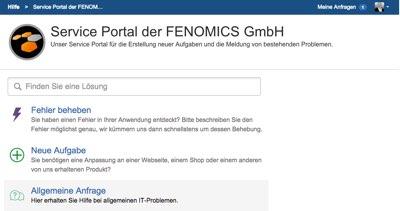 Service Portal der FENOMICS GmbH - Service Desk